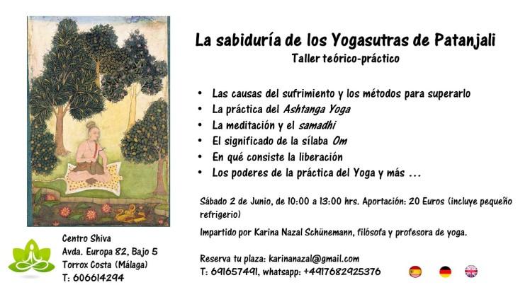flyer La sabiduría de los Yogasutras de Patanjali